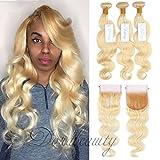 """Dorabeauty # 613 Paquetes de cabello rubio con cierre 4 × 4 ondas de cuerpo suizo suizo Extensiones de cabello humano brasileño Remy (20 """"Cierre +22"""" 24 """"26"""" Bundles inch)"""