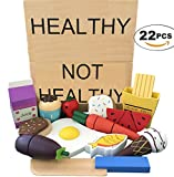 Wooden Play Food Learning Toy of Healthy Eating Habits - Magnetic and Cutting Play Food Set- 22 Hand Painted Wooden Pieces - Sorting Wooden Toy by ROCA Toys.