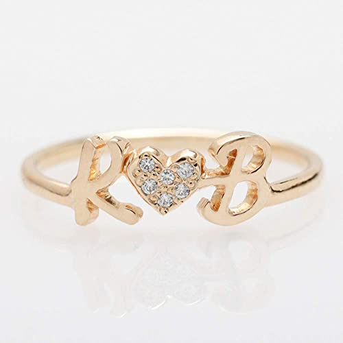 1cc317ea11 Image Unavailable. Image not available for. Color: Graceful Rings Gix  Minimalist Personalised Initials Jewelry CZ Heart ...