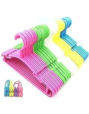 50 Pack Plastic Children's Hangers Kids Hangers Baby Hangers11 inch Wide (Blue,Yellow, Pink,Green,White