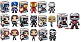 FUNKO POP! CAPTAIN AMERICA CIVIL WAR: Captain America, Giant-man, Iron Man, Black Widow, Scarlet Witch, Black Panther, Winter Soldier, War Machine, Agent 13 and Crossbones Vinyl Figures! Set of 10