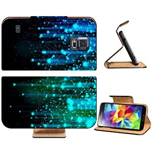 Abstract Lights Blue Line Sparkles Samsung Galaxy S5 SM-G900 Flip Cover Case with Card Holder Customized Made to Order Support Ready Premium Deluxe Pu Leather 5 13/16 inch (148mm) x 2 1/8 inch (80mm) x 5/8 inch (16mm) Luxlady S V S 5 Professional Cases