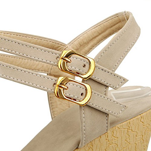 AllhqFashion Women's Solid Imitated Suede High Heels Open Toe Buckle Sandals Beige 9cc7w4Hp