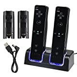 Wii Remote Charger, Dual Charging Station Dock Stand with 2 Rechargeable Battery Packs plus & LED Light for Wii Remote Control(White)