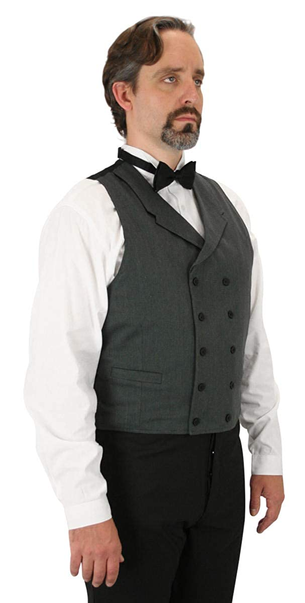 Victorian Men's Clothing, Fashion – 1840 to 1900 Double Breasted Cotton Blend Callahan Dress Vest Historical Emporium Mens $66.95 AT vintagedancer.com