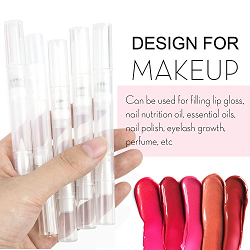 5 PCS Empty Transparent Twist Pen with Brush Tip Leakage-proof Cosmetic Lip Gloss Container Travel Portable Nail Polish Perfume Eyelash Growth Liquid Tube