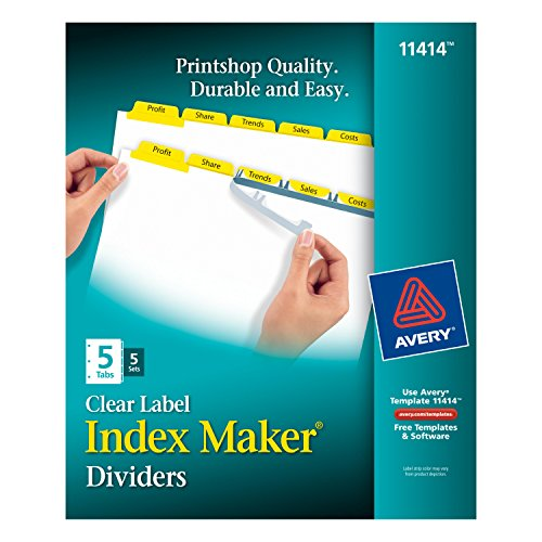 Wholesale Avery Index Maker White Dividers with Yellow Tabs, 5-Tab, 5 Sets (11414) for sale