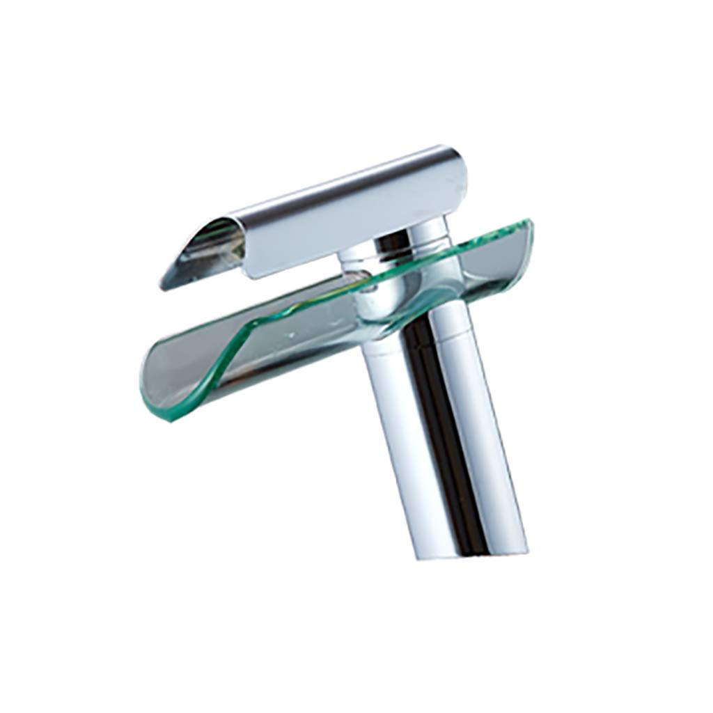 C Waterfall Basin Faucet Hot And Cold Copper Glass Art Bathroom Sink Faucet Wash Basin Faucet Bathtub Faucet (color   A)