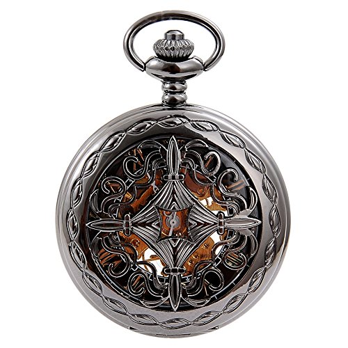 Antique Skeleton Roman Numerals Analog Mechanical Pocket Watch with Chain