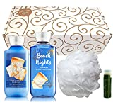 BEACH NIGHTS Bath & Body Works 4 Piece Set of Lotion, Gel & Shower Puff in a gold scroll gift box with a Jarosa Peppermint Lip Balm by Jarosa Gifts