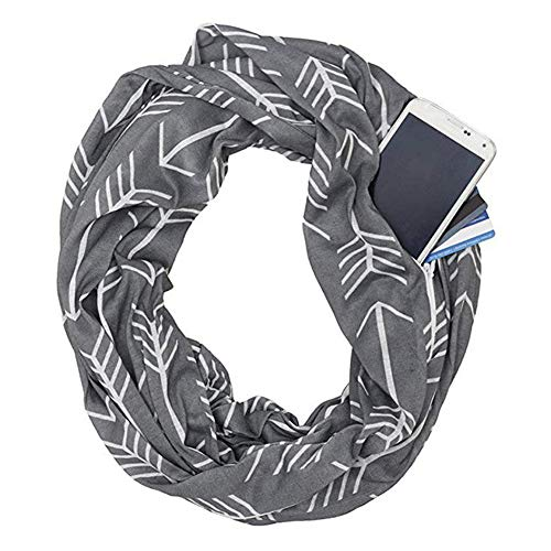Adealink Women Winter Convertible Infinity Scarf with Pocket Loop Zipper Pocket Scarves