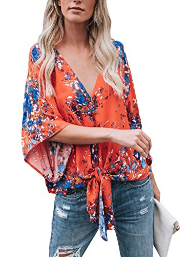 Silindashop Womens Floral Blouses Chiffon Summer Short Sleeve Deep V Neck Tie Front Tops Shirts Red L