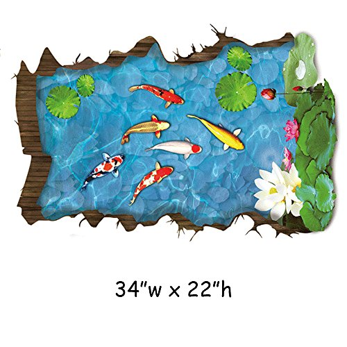 Homefind Removable 3D Hole View Overlooking Fishpond Lotus Flowers Carps Vivid Scenery Wall Stickers Living Room Bedroom Playroom Waterproof Wall Decals Bathroom Floor Home Décor 34
