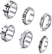 Thunaraz 6PCS Stainless Steel Spinner Rings for Women Mens Triple Interlocked Rolling Flower Moon Star Stress