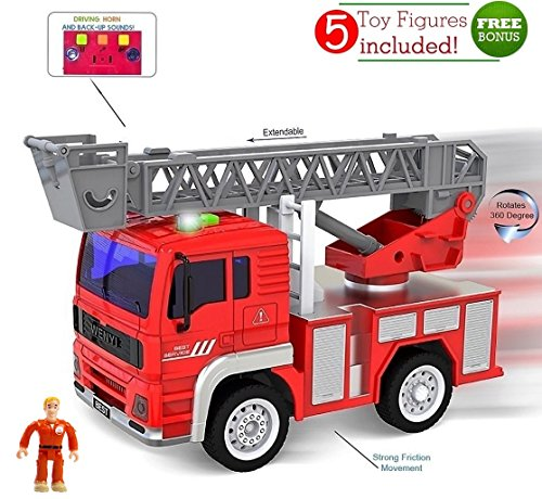 [Toy Fire Truck with Lights and Sounds - Extendable Ladder -Powerful Friction Wheels - Mini Firetruck Toy for Toddlers and young Kids- BONUS: 5 Fireman and Toy] (Fireman Sam Costume 2-3)