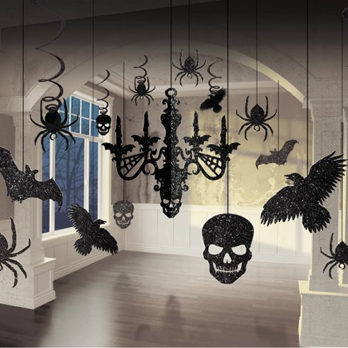 Amscan |  Party Decoration | Halloween Glitter Paper Chandelier Decorating Kit | 17 in a