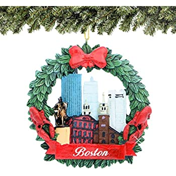 City-Souvenirs Boston Christmas Ornament Wreath with Skyline and Landmarks  3 Inches - Amazon.com: City-Souvenirs Boston Christmas Ornament Wreath With
