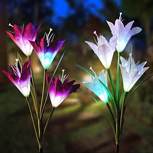 Outdoor Solar Flower Decorative Light 2 Pack Flower Solar Powered 8 Lily Flower Multi-Color Changing for Patio,Yard Decoration, Garde and Backyard Review