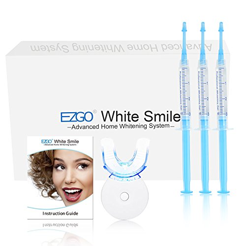 EZGO Professional Teeth Whitening Kit, Syringes Trays and Light included, Stain Remover