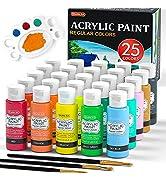 Acrylic Paint, Shuttle Art 25 Colors Acrylic Paint Set, 2oz/60ml Bottles, Rich Pigmented, Waterpr...