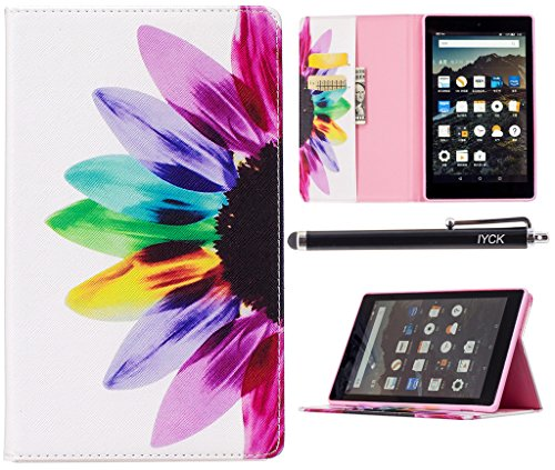 All-New Amazon Fire HD 8 Case 2017, iYCK Leather Stand Flip Folio [Card Holder] Protective Shell Wallet Case Cover for Fire HD8 Tablet (7th Generation, 2017 release) - Colorful Flower (Card Case For Amazon Fire Phone)