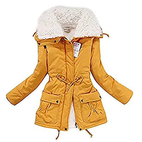 Womens Winter Jacket Parkas Thicken Plus Size Coats Outerwear Solid Mid-length Slim Cotton Faux Fur Lined Basic Tops