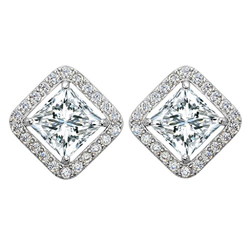 Price comparison product image EleQueen 925 Sterling Silver Full Prong Cubic Zirconia Hollow-out Square Bridal Stud Earrings Clear 15mm