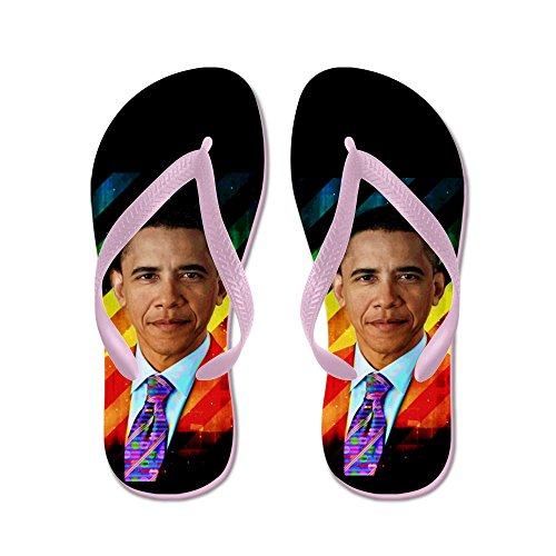 Cafepress Post Moderne Obama - Flip Flops, Grappige Leren Sandalen, Strand Sandalen Roze