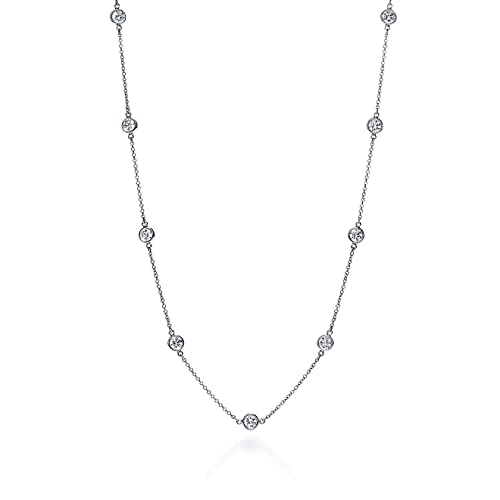 9effd38d5bbf4 Sterling Silver Round Cubic Zirconia Station Necklace 16