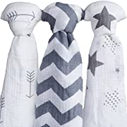 Muslin Swaddle Blankets| 100% Soft Organic Cotton Swaddle Blanket| muslin swaddle blanket| swaddle blankets| baby swaddle blankets| 3 Pack Set 47  x 47  Gray combo receiving blankets Girl or Boy| swad