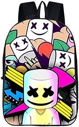حقيبة ظهر للكمبيوتر المحمول من مارشميلو للاولاد والبنات للمدرسة بتصميم رياضي مقاوم للماء ومثالي للرحلات والكتب - اسود مطبوع