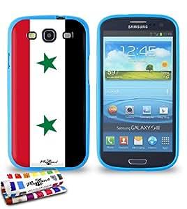 Carcasa Flexible Ultra-Slim SAMSUNG GALAXY S3 / I9300 de exclusivo motivo [Bandera Siria] [Azul] de MUZZANO  + ESTILETE y PAÑO MUZZANO REGALADOS - La Protección Antigolpes ULTIMA, ELEGANTE Y DURADERA para su SAMSUNG GALAXY S3 / I9300