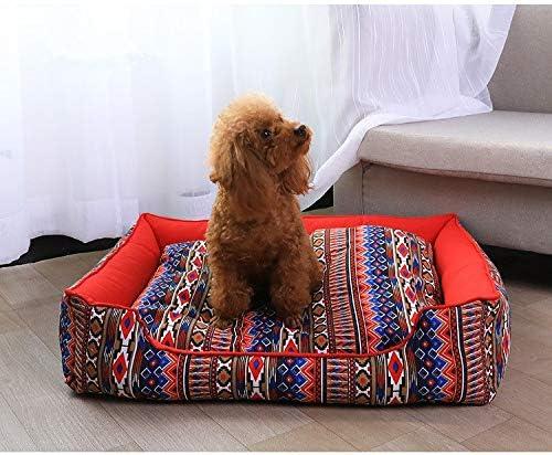 GYK Boutique Cama para Mascotas, Perrera Lavable, Estilo Folk Rojo Chino, 120x90cm: Amazon.es: Productos para mascotas