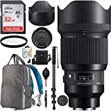 Sigma 85mm f1.4 DG HSM Art Lens Sony E-Mount Digital Full Frame APS-C Cameras 321965 Pro Multi-Coated HD UV Filter Cleaning Kit Photography Backpack Bundle