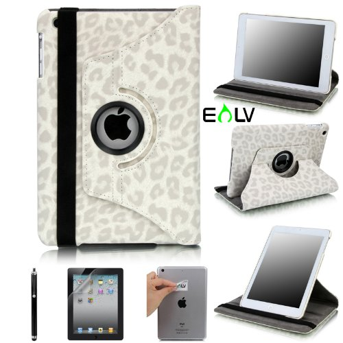 E LV 360 Degrees Rotating Stand Luxury Leopard/Zebra Design PU Leather Case for Apple New iPad Mini with Automatic Wake and Sleep function+1 Black Stylus, 1 Screen Protector and E LV Microfiber Sticker Digital Cleaner