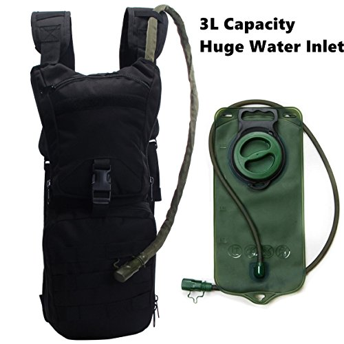 Hydration Pack Bladder with Replaceable BPA Free 3L Water Reservoir Pack 2 Front Storage Bag Adjustable Shoulder Strap for Hiking,Biking,Running,Walking and Climbing Heavy Duty Polyester
