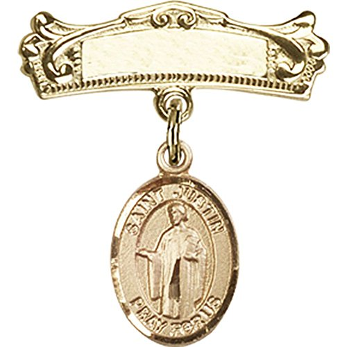 14kt Yellow Gold Baby Badge with St. Justin Charm and Arched Polished Badge Pin 7/8 X 3/4 inches by Unknown