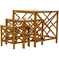 David Francis Furniture L2907-NT-63704 Chippendale Nesting Tables, Set of 3, Navy Blue