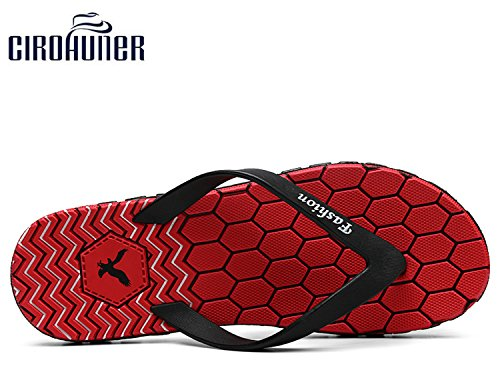 Slippers Beach CIROHUNER Flops Sandal Red Flip Men's wTqX8cnFT