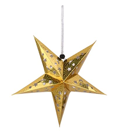 Paper pentagram lampshade paper star lantern christmas hanging star paper pentagram lampshade paper star lantern christmas hanging star decor gold 40cm 1575 aloadofball Images