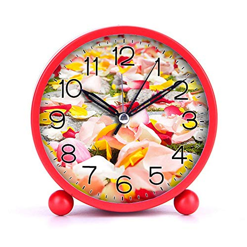 Cute Color Alarm Clock, Round Metal Desk Clock Portable Clocks with Night Light House Decorations -483.rose-petals-petals-wedding-red-37525 (White)