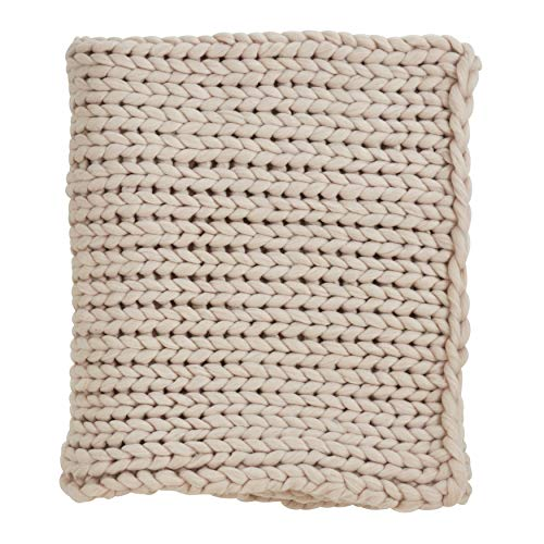 SARO LIFESTYLE Sevan Collection Chunky Knit Throw in Poly Blend, Oatmeal