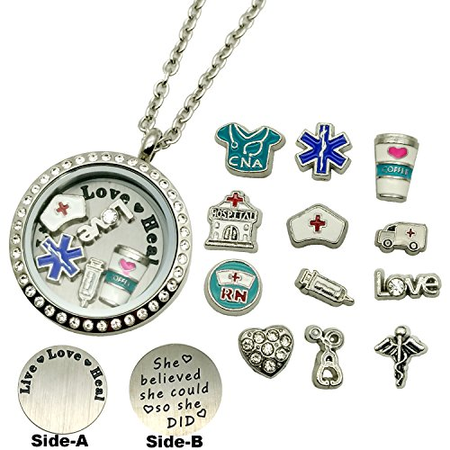 30mm Bead Chain Necklace (Dotiow 30mm Round Nurse Floating Locket w/ Double-Sided Locket Plate + 24'' Stainless Steel Chain(nurse-magnetic-pendant) (Magnetic-locket-pendant))