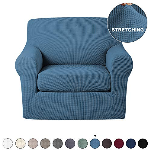 Turquoize Couch Cover Stretch Fabric in Polyester Spandex Elastic Bottom Slipcover 2-Piece(Chair,Dusty Blue)
