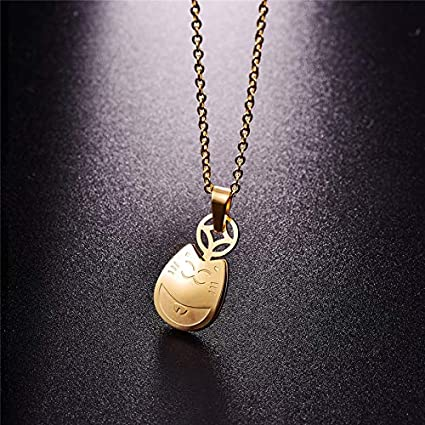 Metal Color: Platinum Plated Davitu 316L Stainless Steel Gold-Color Lucky Cat Pendant Necklace Link Chain Necklace Fashion Jewelry for Women P93