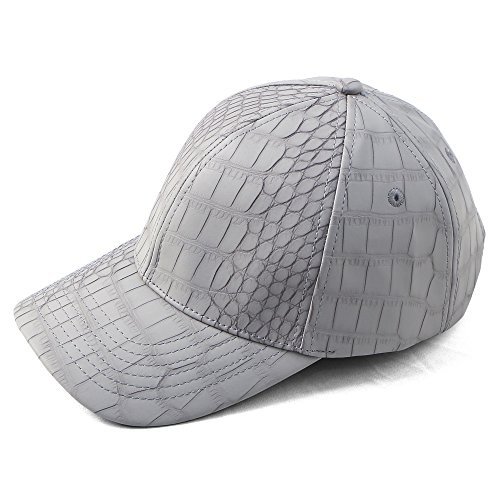 AOG DESIGN Faux Leather Curved Bill Snapback Hat Baseball PU Leather Cap (Gray Alligator)