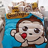 ZZY Bedding Cotton Sheets Three Or Four Sets 1.2/1.5/1.8m Bed Fashion Cartoon Cute Pattern Boy Girl (Color : A, Size : 1.2m)