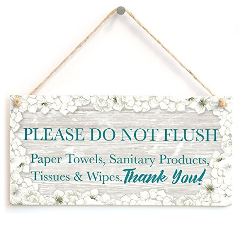 Meijiafei Please DO NOT Flush Paper Towels, Sanitary Products, Tissues & Wipes. Thank You! - Warning Notice for Septic Tank Toilet Small Plaque for W.C 10