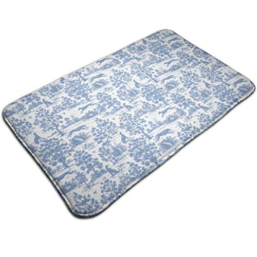 NEWPAI Luxury Extra Thick Water Absorbent Blue Greyhound Toile Doormat Non-Slip Antibacterial Bathroom Rug Perfect for Bedroom Bathroom Livingroom
