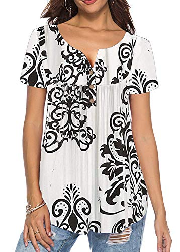 (Women's Shirts Casual Blouse Short Sleeve Paisley Printed Button Top Tunic Tops Solid Color Fit Flare (Short Sleeve White, Small))